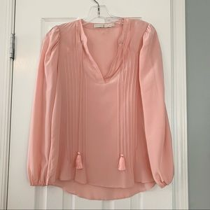 Marie Oliver light pink silk pleated blouse top